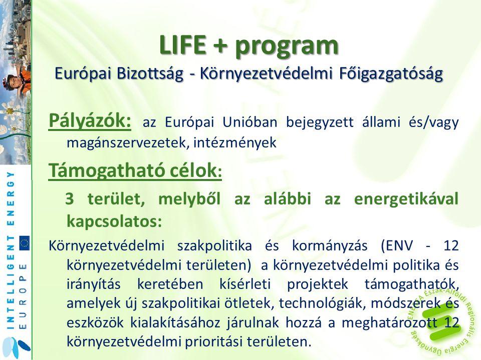 LIFE + program Európai Bizottság - Környezetvédelmi Főigazgatóság Pályázók: az Európai Unióban bejegyzett állami és/vagy magánszervezetek, intézmények Támogatható célok : 3 terület, melyből az alábbi az energetikával kapcsolatos: Környezetvédelmi szakpolitika és kormányzás (ENV - 12 környezetvédelmi területen) a környezetvédelmi politika és irányítás keretében kísérleti projektek támogathatók, amelyek új szakpolitikai ötletek, technológiák, módszerek és eszközök kialakításához járulnak hozzá a meghatározott 12 környezetvédelmi prioritási területen.
