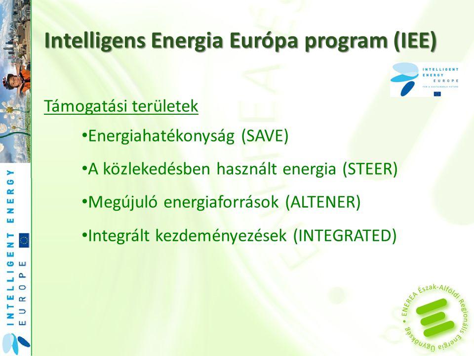 Támogatási területek Energiahatékonyság (SAVE) A közlekedésben használt energia (STEER) Megújuló energiaforrások (ALTENER) Integrált kezdeményezések (INTEGRATED)