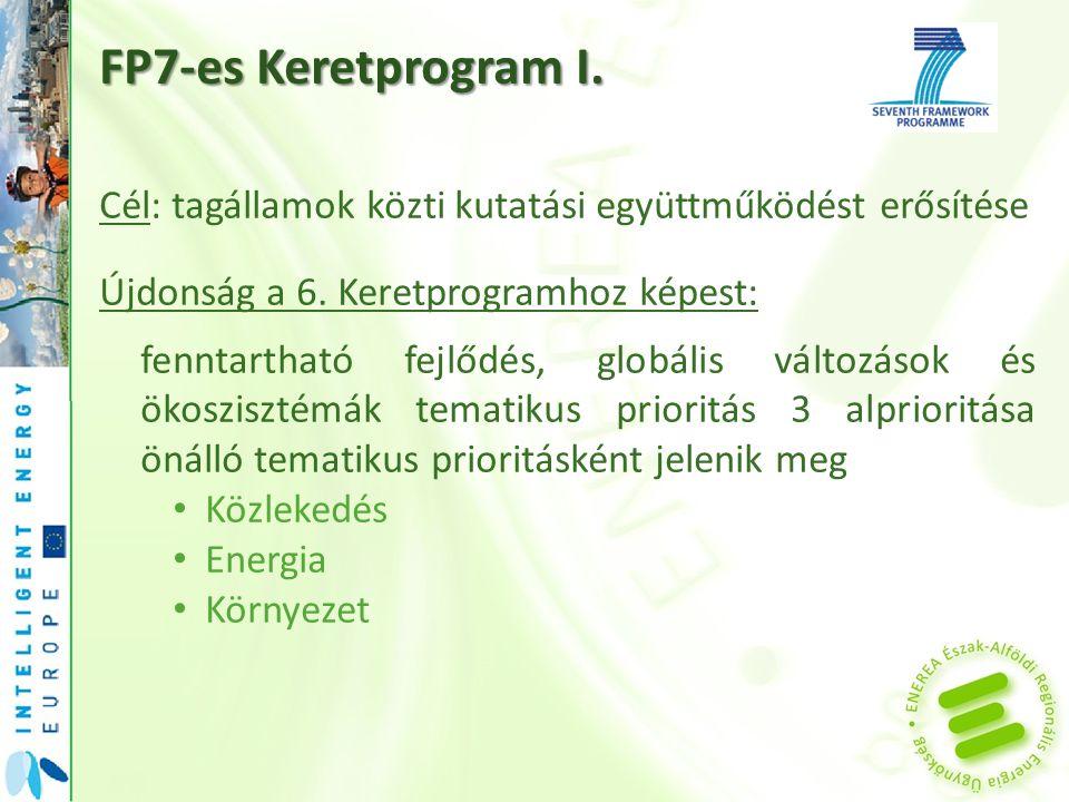 FP7-es Keretprogram I. Cél: tagállamok közti kutatási együttműködést erősítése Újdonság a 6.