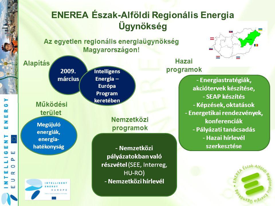 ENEREA Észak-Alföldi Regionális Energia Ügynökség Az egyetlen regionális energiaügynökség Magyarországon.