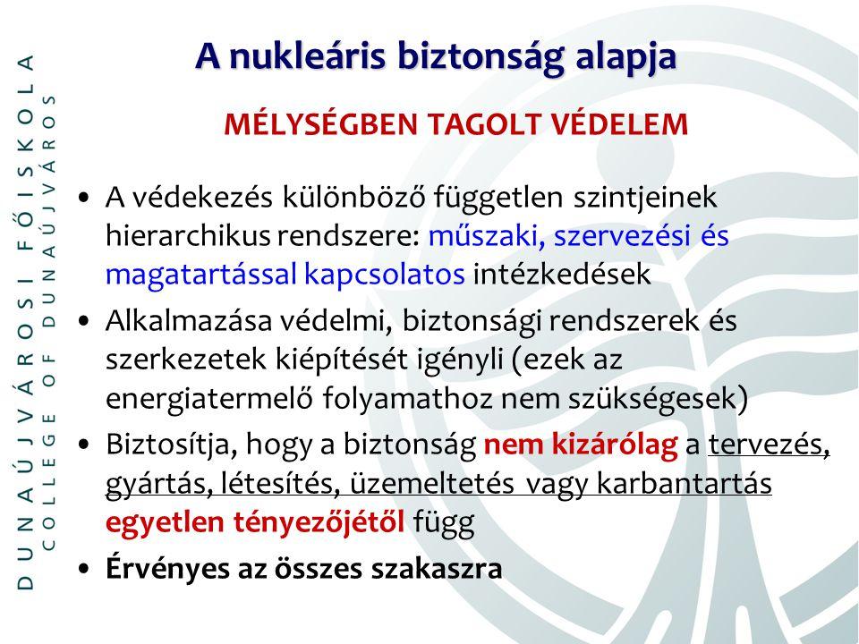 A nukleáris biztonság alapja MÉLYSÉGBEN TAGOLT VÉDELEM A védekezés különböző független szintjeinek hierarchikus rendszere: műszaki, szervezési és magatartással kapcsolatos intézkedések Alkalmazása védelmi, biztonsági rendszerek és szerkezetek kiépítését igényli (ezek az energiatermelő folyamathoz nem szükségesek) Biztosítja, hogy a biztonság nem kizárólag a tervezés, gyártás, létesítés, üzemeltetés vagy karbantartás egyetlen tényezőjétől függ Érvényes az összes szakaszra