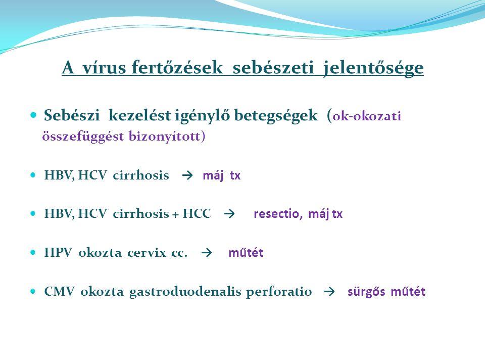 A vírus fertőzések sebészeti jelentősége Sebészi kezelést igénylő betegségek ( ok-okozati összefüggést bizonyított) HBV, HCV cirrhosis → máj tx HBV, HCV cirrhosis + HCC → resectio, máj tx HPV okozta cervix cc.
