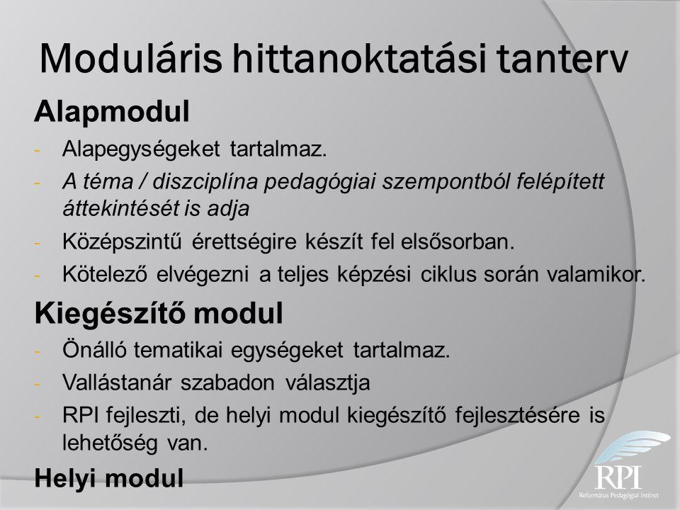 Moduláris hittanoktatási tanterv Alapmodul - Alapegységeket tartalmaz. - A téma / diszciplína pedagógiai szempontból felépített áttekintését is adja -