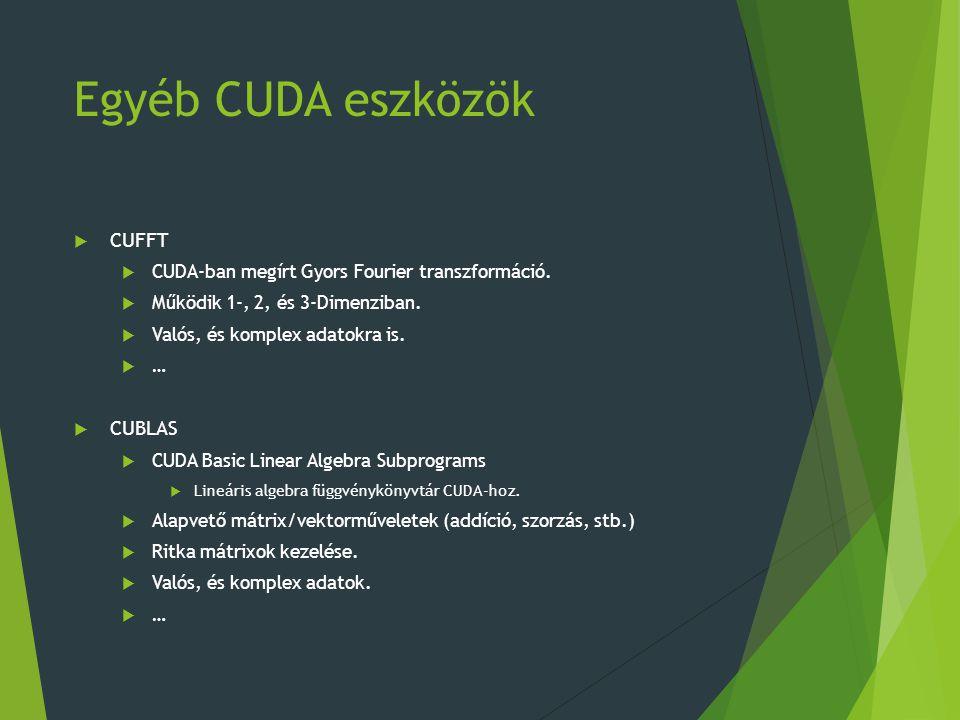 Egyéb CUDA eszközök  CUFFT  CUDA-ban megírt Gyors Fourier transzformáció.