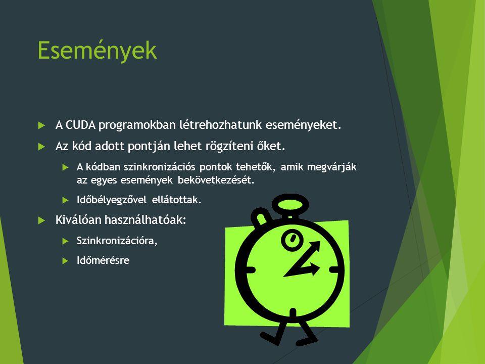 Események  A CUDA programokban létrehozhatunk eseményeket.