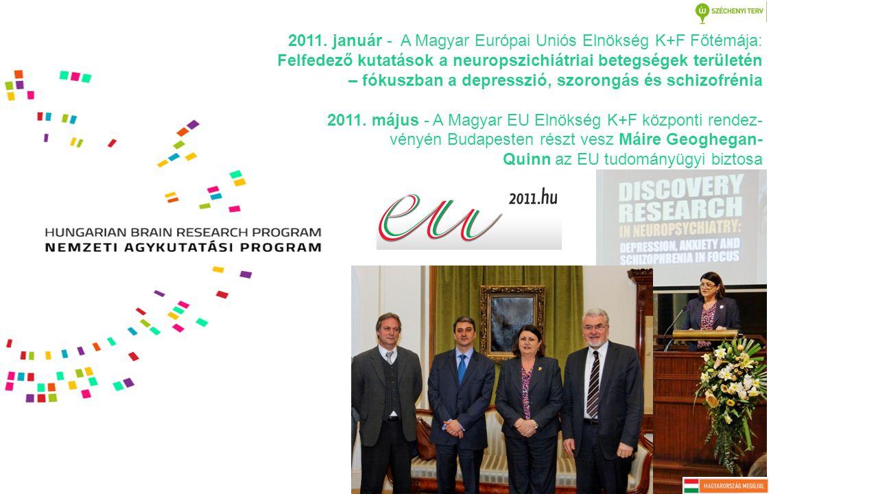 2011. január - A Magyar Európai Uniós Elnökség K+F Főtémája: Felfedező kutatások a neuropszichiátriai betegségek területén – fókuszban a depresszió, s