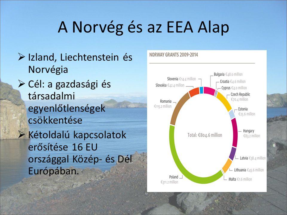 A Norvég és az EEA Alap  Izland, Liechtenstein és Norvégia  Cél: a gazdasági és társadalmi egyenlőtlenségek csökkentése  Kétoldalú kapcsolatok erősítése 16 EU országgal Közép- és Dél Európában.