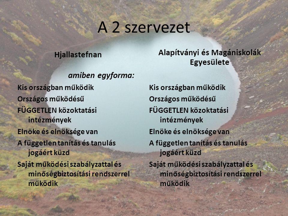 A 2 szervezet Hjallastefnan amiben egyforma: Kis országban működik Országos működésű FÜGGETLEN közoktatási intézmények Elnöke és elnöksége van A függe