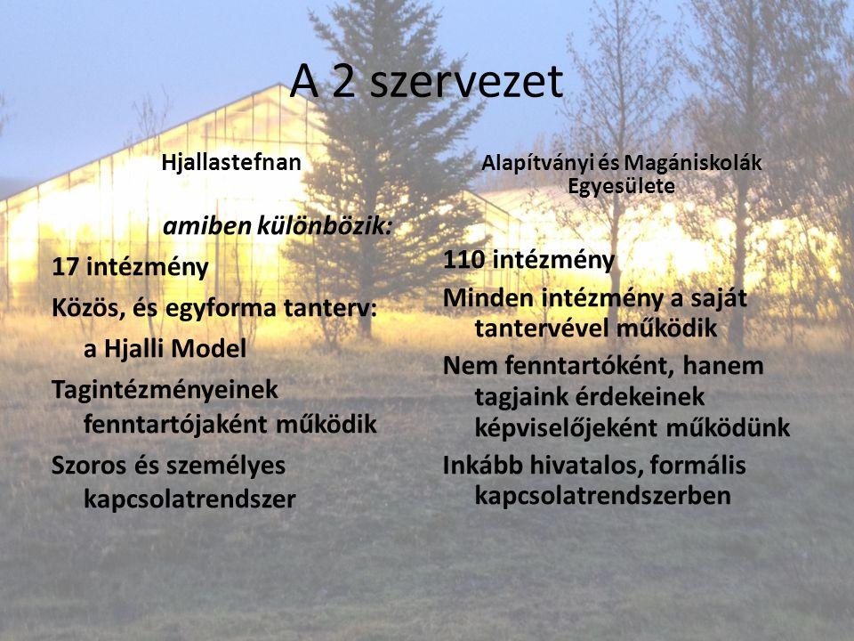 A 2 szervezet Hjallastefnan amiben különbözik: 17 intézmény Közös, és egyforma tanterv: a Hjalli Model Tagintézményeinek fenntartójaként működik Szoro