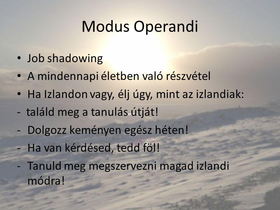 Modus Operandi Job shadowing A mindennapi életben való részvétel Ha Izlandon vagy, élj úgy, mint az izlandiak: - találd meg a tanulás útját! -Dolgozz
