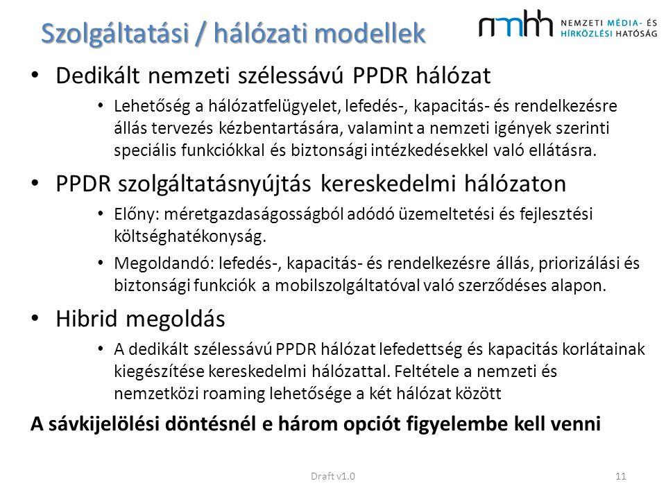 Szolgáltatási / hálózati modellek Dedikált nemzeti szélessávú PPDR hálózat Lehetőség a hálózatfelügyelet, lefedés-, kapacitás- és rendelkezésre állás