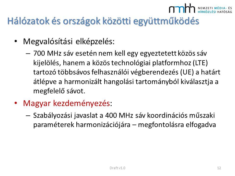 Hálózatok és országok közötti együttműködés Megvalósítási elképzelés: – 700 MHz sáv esetén nem kell egy egyeztetett közös sáv kijelölés, hanem a közös