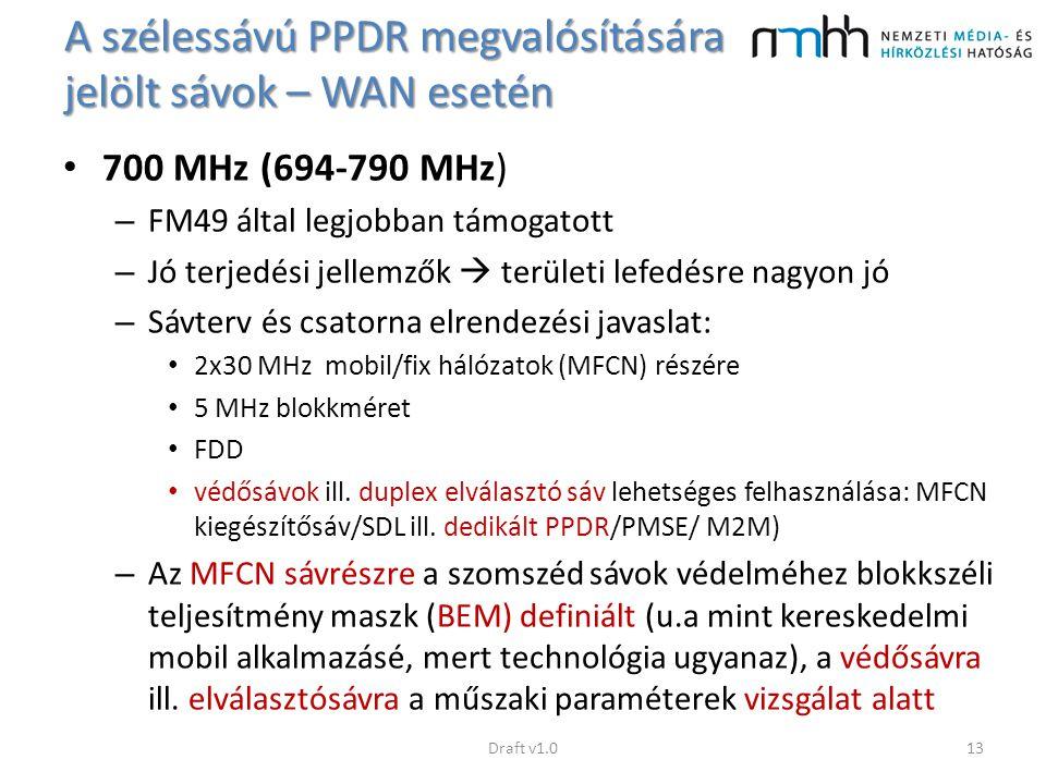 A szélessávú PPDR megvalósítására jelölt sávok – WAN esetén 700 MHz (694-790 MHz) – FM49 által legjobban támogatott – Jó terjedési jellemzők  terület