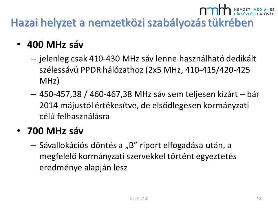 Hazai helyzet a nemzetközi szabályozás tükrében 400 MHz sáv – jelenleg csak 410-430 MHz sáv lenne használható dedikált szélessávú PPDR hálózathoz (2x5