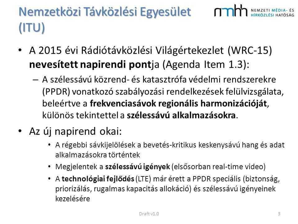 Nemzetközi Távközlési Egyesület (ITU) A 2015 évi Rádiótávközlési Világértekezlet (WRC-15) nevesített napirendi pontja (Agenda Item 1.3): – A szélessáv
