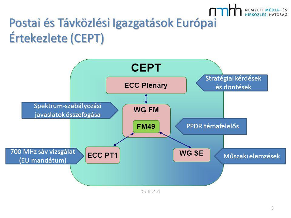 FM49 eddigi szabályozási eredmények Fő feladat: harmonizált frekvenciasávot találni a jövőbeli európai szélessávú PPDR rendszerek számára ECC Riport A (mit kívánunk) – 2013 május – User requirements and spectrum needs for future European broadband PPDR systems (Wide Area Networks) ECC Riport B (megoldások) – várható 2015 elején Draft v1.06
