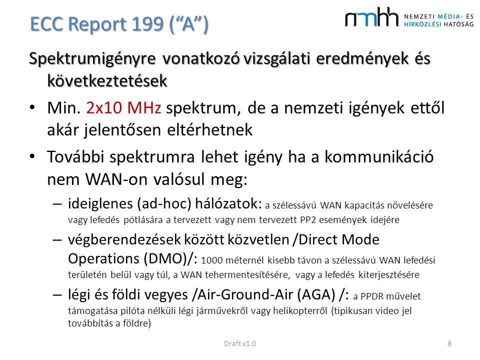 """ECC Report 199 (""""A"""") Spektrumigényre vonatkozó vizsgálati eredmények és következtetések Min. 2x10 MHz spektrum, de a nemzeti igények ettől akár jelent"""