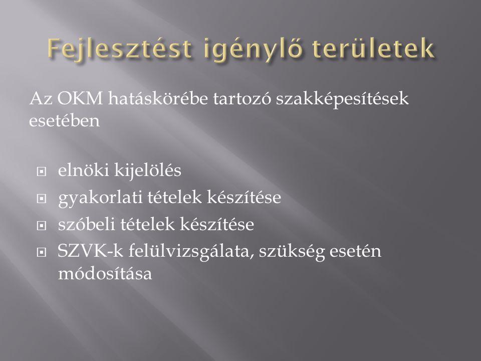 Az OKM hatáskörébe tartozó szakképesítések esetében  elnöki kijelölés  gyakorlati tételek készítése  szóbeli tételek készítése  SZVK-k felülvizsgálata, szükség esetén módosítása