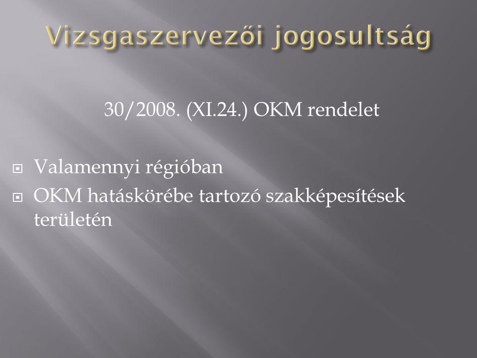 30/2008. (XI.24.) OKM rendelet  Valamennyi régióban  OKM hatáskörébe tartozó szakképesítések területén