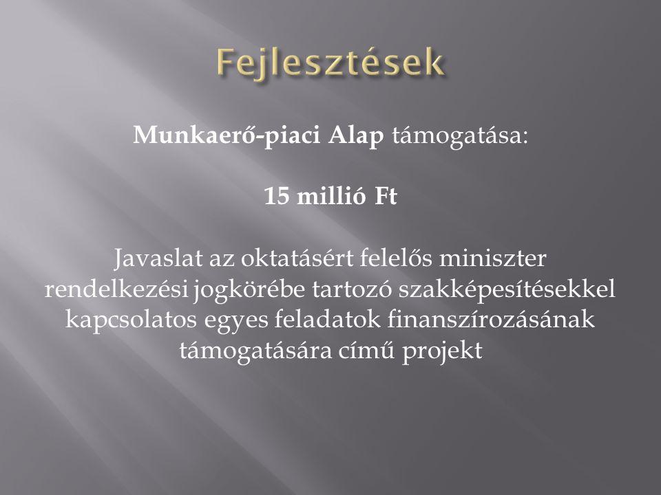 Munkaerő-piaci Alap támogatása: 15 millió Ft Javaslat az oktatásért felelős miniszter rendelkezési jogkörébe tartozó szakképesítésekkel kapcsolatos egyes feladatok finanszírozásának támogatására című projekt