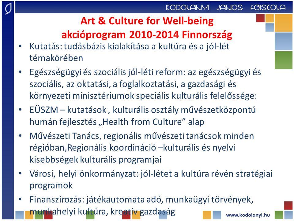 Art & Culture for Well-being akcióprogram 2010-2014 Finnország Kutatás: tudásbázis kialakítása a kultúra és a jól-lét témakörében Egészségügyi és szoc