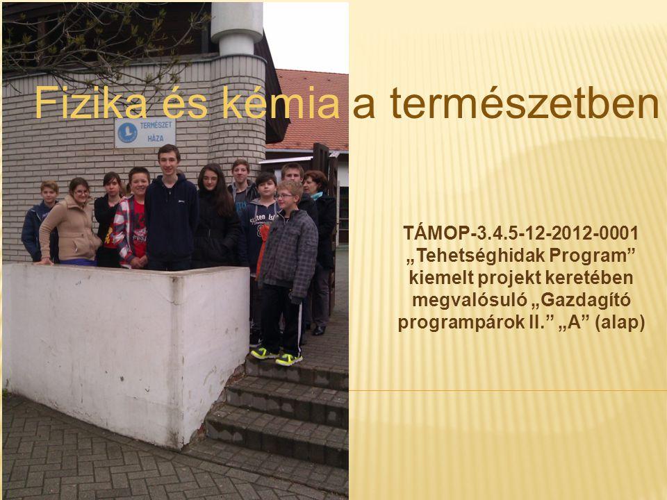 """TÁMOP-3.4.5-12-2012-0001 """"Tehetséghidak Program kiemelt projekt keretében megvalósuló """"Gazdagító programpárok II. """"A (alap) Fizika és kémia a természetben"""