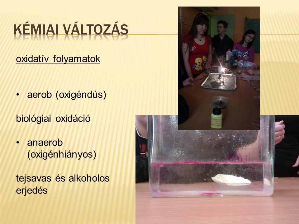 oxidatív folyamatok aerob (oxigéndús) biológiai oxidáció anaerob (oxigénhiányos) tejsavas és alkoholos erjedés