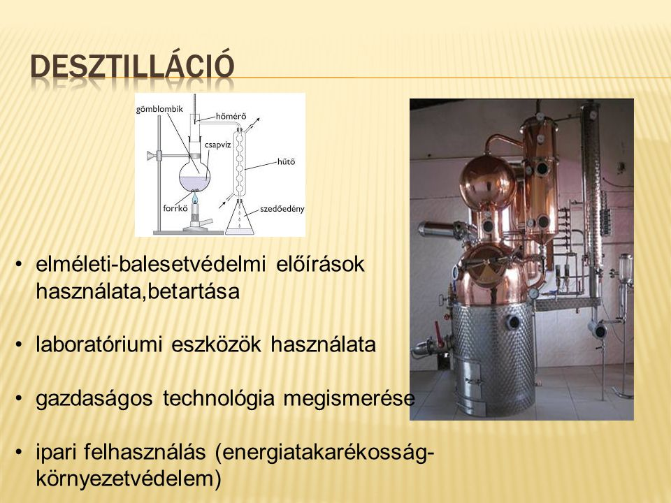 elméleti-balesetvédelmi előírások használata,betartása laboratóriumi eszközök használata gazdaságos technológia megismerése ipari felhasználás (energi