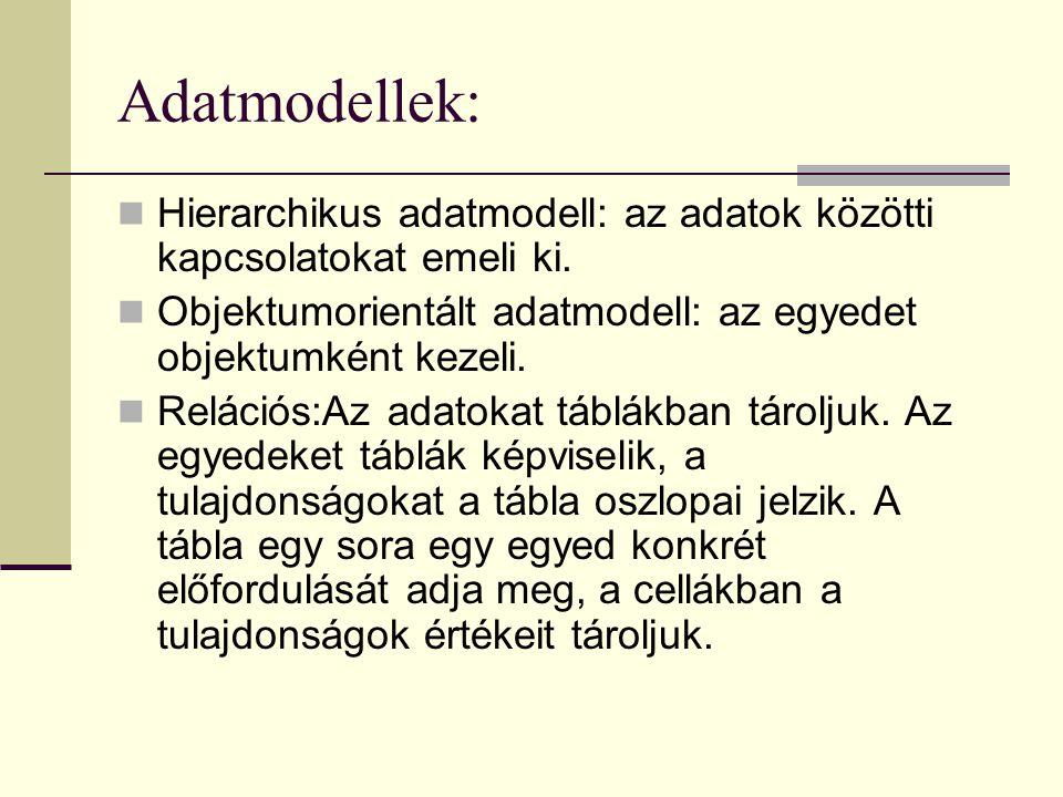 Adatmodellek: Hierarchikus adatmodell: az adatok közötti kapcsolatokat emeli ki.