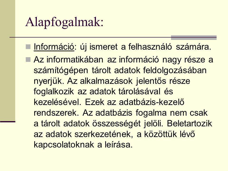 Alapfogalmak: Információ: új ismeret a felhasználó számára.