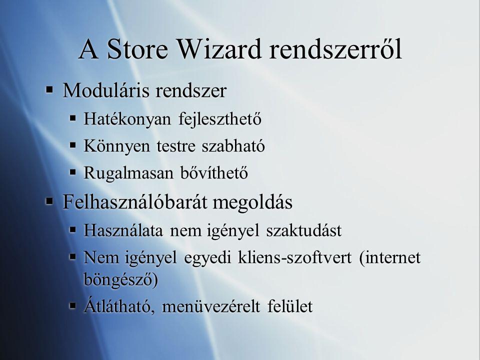 A Store Wizard rendszerről  Moduláris rendszer  Hatékonyan fejleszthető  Könnyen testre szabható  Rugalmasan bővíthető  Felhasználóbarát megoldás  Használata nem igényel szaktudást  Nem igényel egyedi kliens-szoftvert (internet böngésző)  Átlátható, menüvezérelt felület  Moduláris rendszer  Hatékonyan fejleszthető  Könnyen testre szabható  Rugalmasan bővíthető  Felhasználóbarát megoldás  Használata nem igényel szaktudást  Nem igényel egyedi kliens-szoftvert (internet böngésző)  Átlátható, menüvezérelt felület