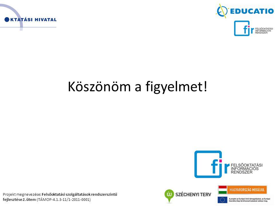 Projekt megnevezése: Felsőoktatási szolgáltatások rendszerszintű fejlesztése 2. ütem (TÁMOP-4.1.3-11/1-2011-0001) Köszönöm a figyelmet!