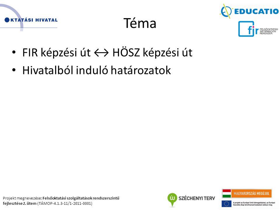 Projekt megnevezése: Felsőoktatási szolgáltatások rendszerszintű fejlesztése 2. ütem (TÁMOP-4.1.3-11/1-2011-0001) Téma FIR képzési út ↔ HÖSZ képzési ú
