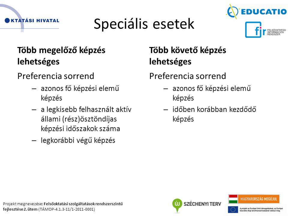 Projekt megnevezése: Felsőoktatási szolgáltatások rendszerszintű fejlesztése 2. ütem (TÁMOP-4.1.3-11/1-2011-0001) Speciális esetek Több megelőző képzé