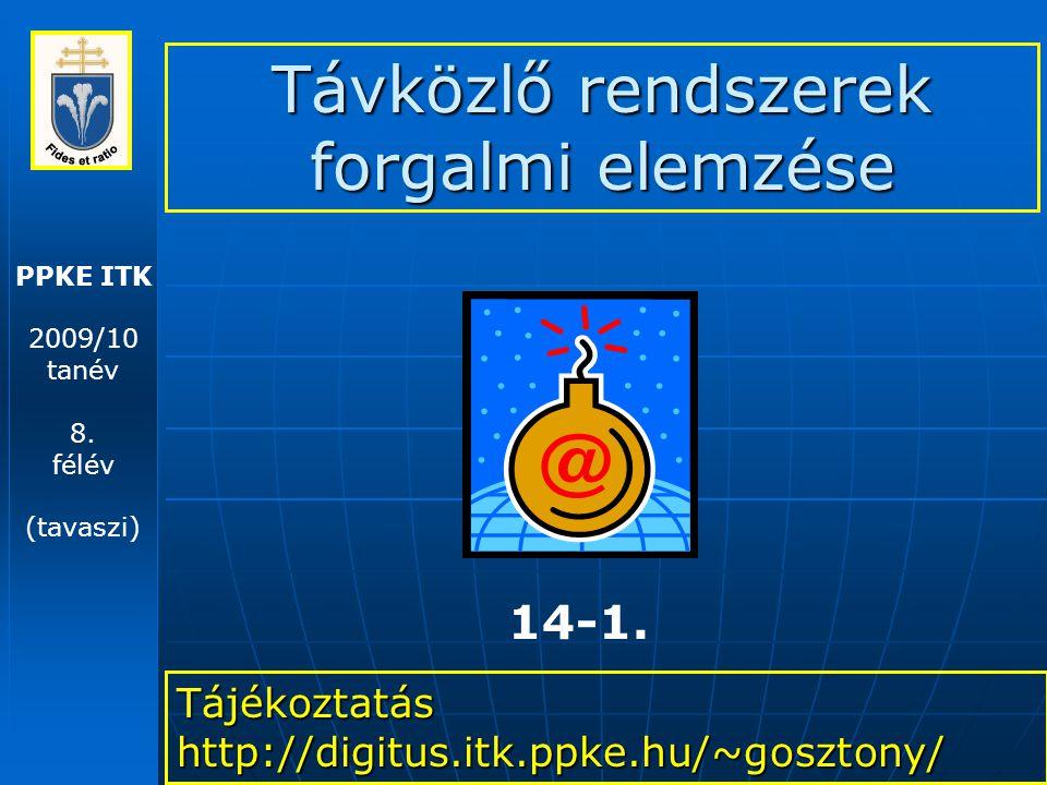 PPKE ITK 2009/10 tanév 8. félév (tavaszi) Távközlő rendszerek forgalmi elemzése Tájékoztatás http://digitus.itk.ppke.hu/~gosztony/ 14-1.