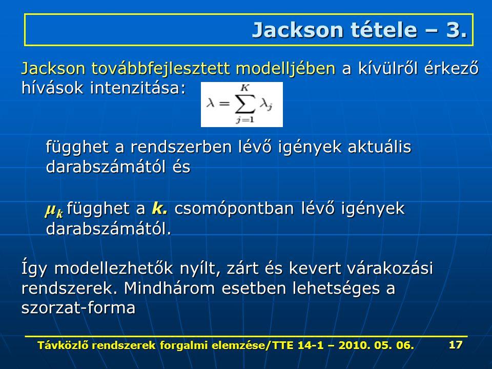 Távközlő rendszerek forgalmi elemzése/TTE 14-1 – 2010. 05. 06. 17 Jackson tétele – 3. Jackson továbbfejlesztett modelljében a kívülről érkező hívások