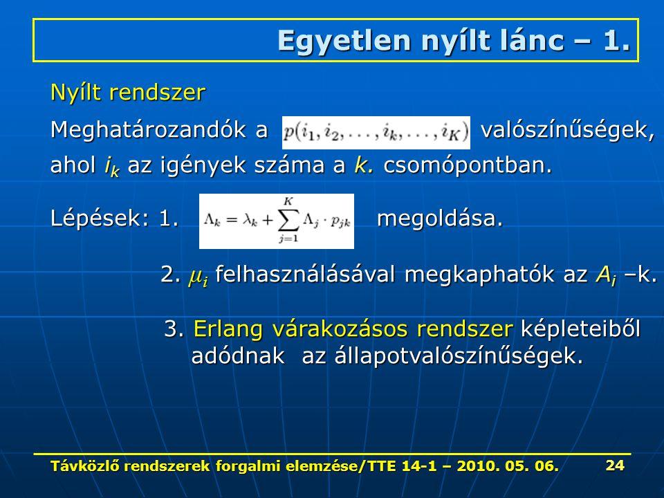 Távközlő rendszerek forgalmi elemzése/TTE 14-1 – 2010. 05. 06. 24 Egyetlen nyílt lánc – 1. Nyílt rendszer Meghatározandók a valószínűségek, ahol i k a
