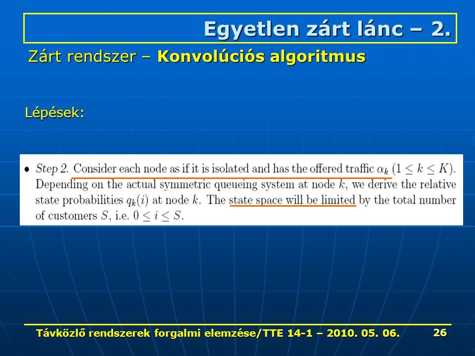 Távközlő rendszerek forgalmi elemzése/TTE 14-1 – 2010. 05. 06. 26 Egyetlen zárt lánc – 2. Zárt rendszer – Konvolúciós algoritmus Lépések: