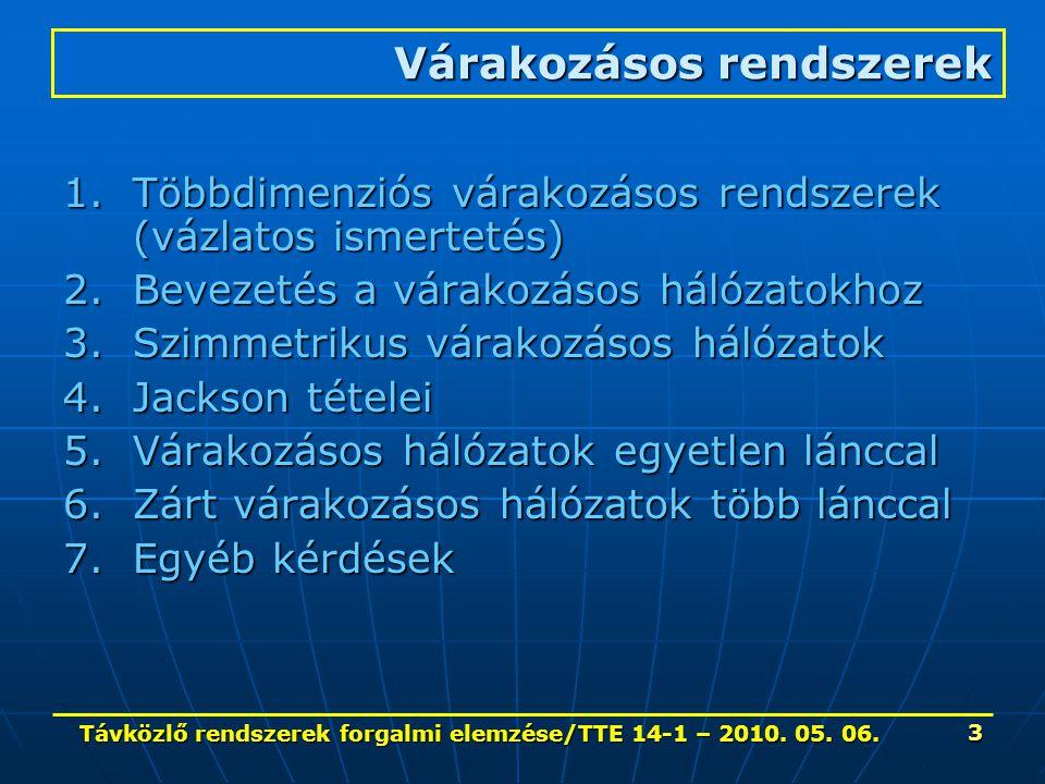 Távközlő rendszerek forgalmi elemzése/TTE 14-1 – 2010. 05. 06. 3 Várakozásos rendszerek 1.Többdimenziós várakozásos rendszerek (vázlatos ismertetés) 2