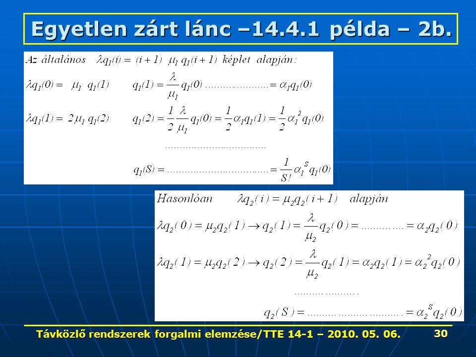 Távközlő rendszerek forgalmi elemzése/TTE 14-1 – 2010. 05. 06. 30 Egyetlen zárt lánc –14.4.1 példa – 2b.