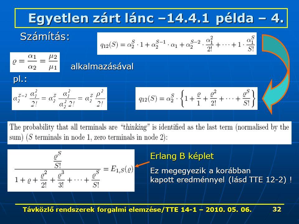 Távközlő rendszerek forgalmi elemzése/TTE 14-1 – 2010. 05. 06. 32 Egyetlen zárt lánc –14.4.1 példa – 4. Számítás: alkalmazásával Erlang B képlet Ez me