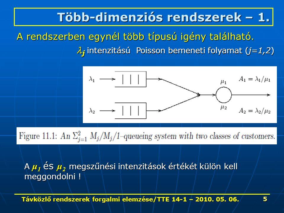 Távközlő rendszerek forgalmi elemzése/TTE 14-1 – 2010. 05. 06. 5 Több-dimenziós rendszerek – 1. A rendszerben egynél több típusú igény található. j in