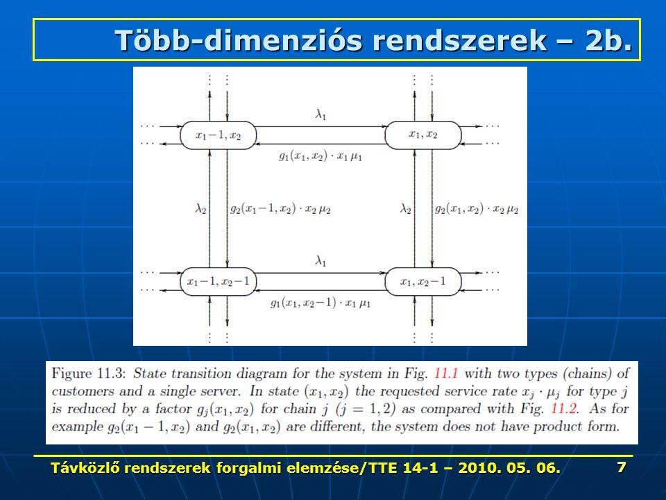 Távközlő rendszerek forgalmi elemzése/TTE 14-1 – 2010. 05. 06. 7 Több-dimenziós rendszerek – 2b.