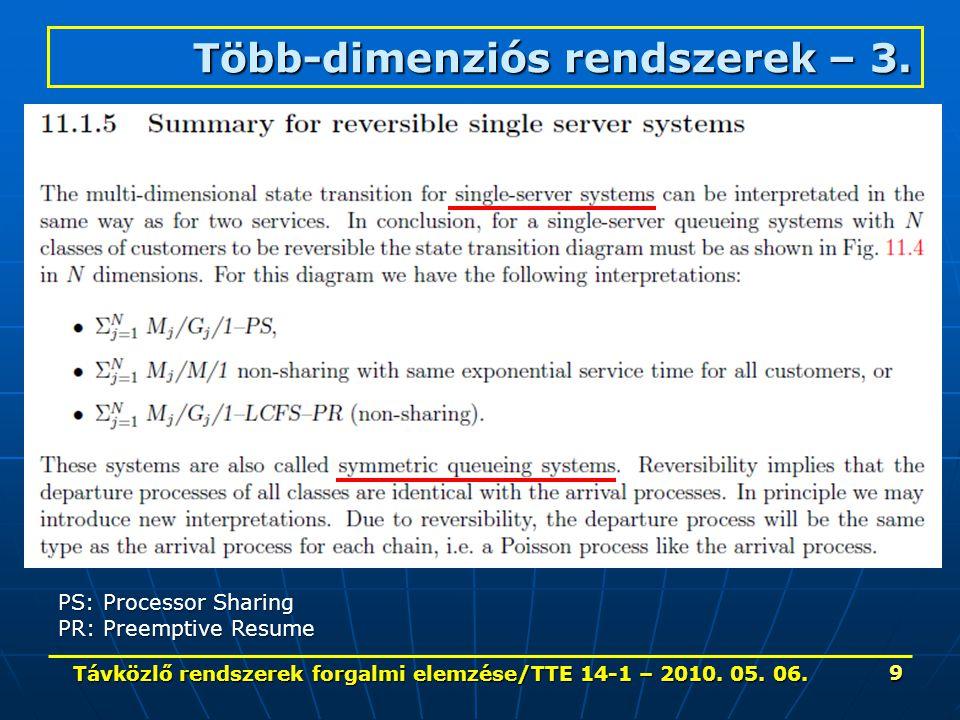 Távközlő rendszerek forgalmi elemzése/TTE 14-1 – 2010. 05. 06. 9 Több-dimenziós rendszerek – 3. PS: Processor Sharing PR: Preemptive Resume
