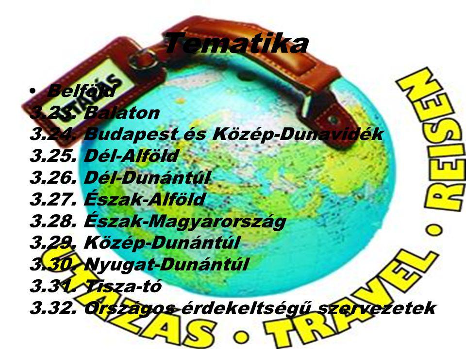Tematika Belföld 3.23. Balaton 3.24. Budapest és Közép-Dunavidék 3.25. Dél-Alföld 3.26. Dél-Dunántúl 3.27. Észak-Alföld 3.28. Észak-Magyarország 3.29.