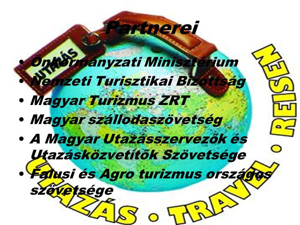 Partnerei Önkormányzati Minisztérium Nemzeti Turisztikai Bizottság Magyar Turizmus ZRT Magyar szállodaszövetség A Magyar Utazásszervezők és Utazásközv