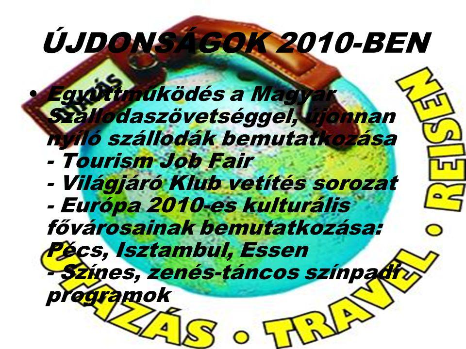 ÚJDONSÁGOK 2010-BEN Együttműködés a Magyar Szállodaszövetséggel, újonnan nyíló szállodák bemutatkozása - Tourism Job Fair - Világjáró Klub vetítés sor