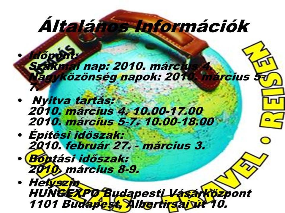 Általános Információk Időpont: Szakmai nap: 2010. március 4. Nagyközönség napok: 2010. március 5- 7. Nyitva tartás: 2010. március 4. 10.00-17.00 2010.