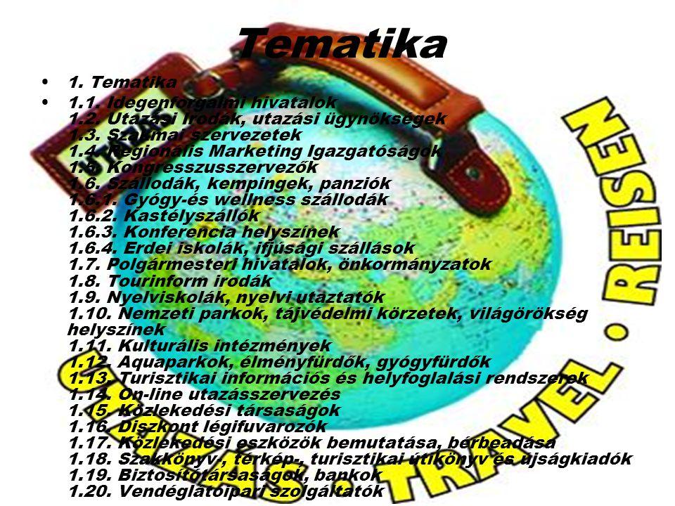 Tematika 1. Tematika 1.1. Idegenforgalmi hivatalok 1.2. Utazási Irodák, utazási ügynökségek 1.3. Szakmai szervezetek 1.4. Regionális Marketing Igazgat