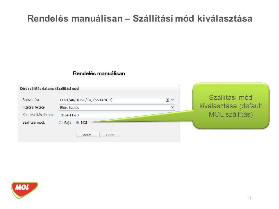 Rendelés manuálisan – Szállítási mód kiválasztása 14 Szállítási mód kiválasztása (default MOL szállítás)